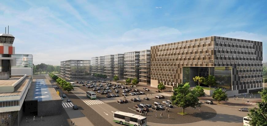 "Storax ventilatieroosters voor business park ""Cornerstone"" op luchthaven The Hague Airport."